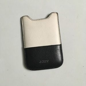 J. Crew Leather Card Holder Black and Cream
